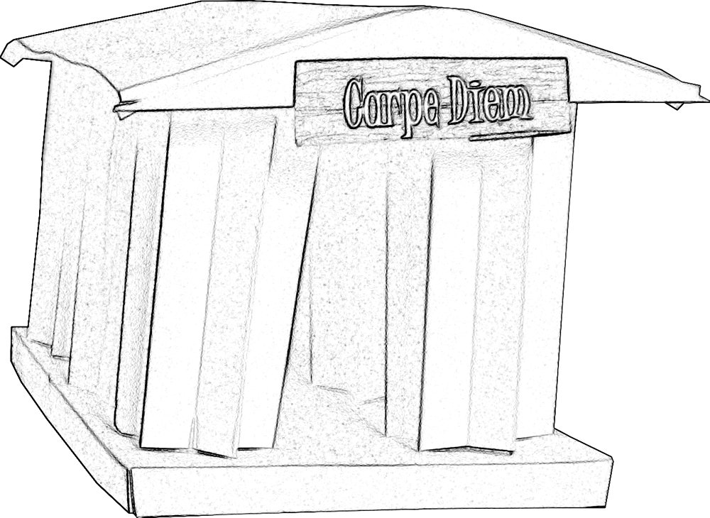 colouring picture of an origami greek temple