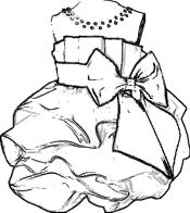 Ball gown with large bow coloring picture