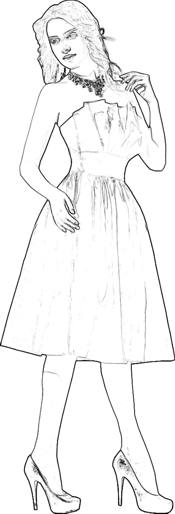 Bridesmaid dress coloring picture