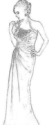 Formal Dress Coloring Picture