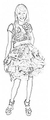 colouring picture of a teenage girl in origami newspaper skirt