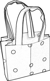 coloring picture of a fashionable origami bag