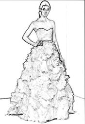 colouring picture of an origami bridal gown