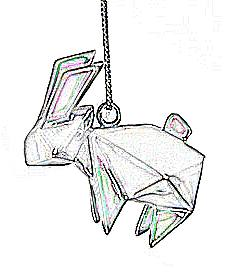 origami rabbit necklace colouring picture