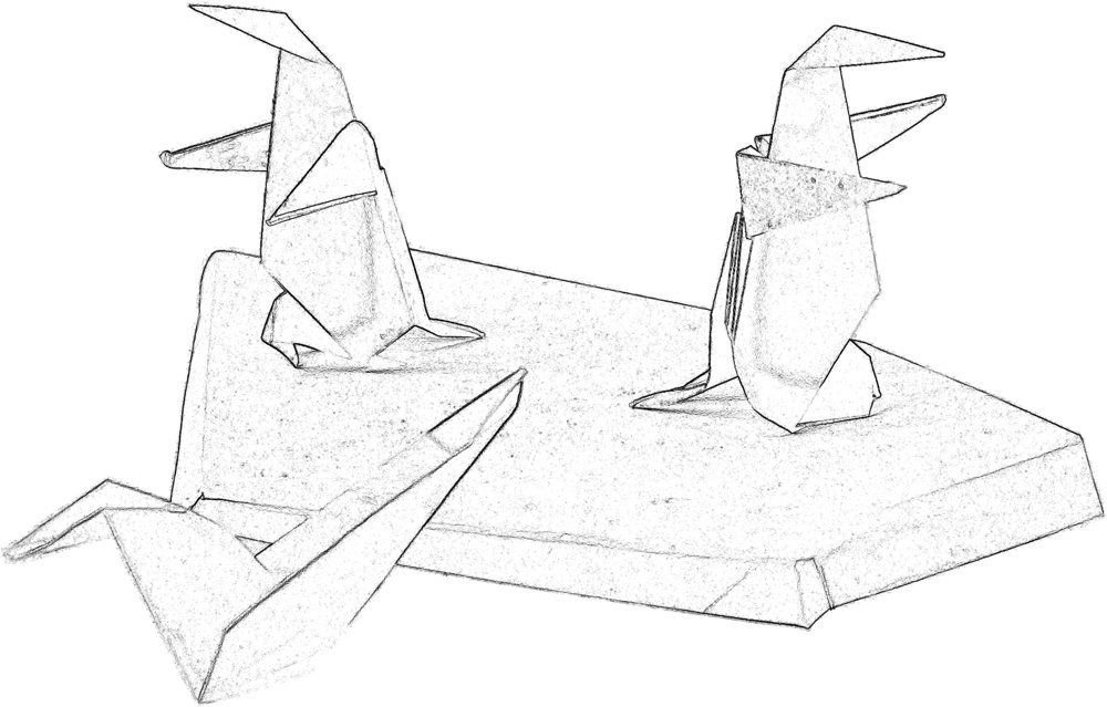 colouring picture of two origami penguins on the ice