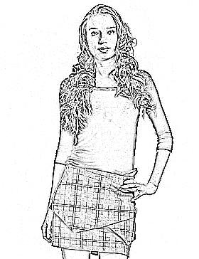 origami plaid skirt line drawing
