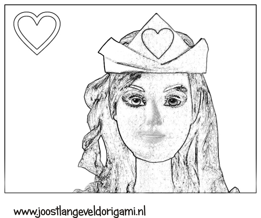 colouring picture of a princess with her crown