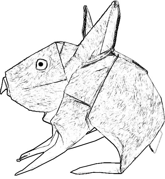 colouring picture of an origami rabbit