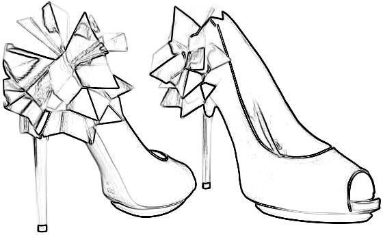 Colouring picture of Rihanna origami high heels