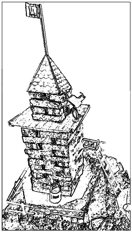 Coloring picture of a watchtower