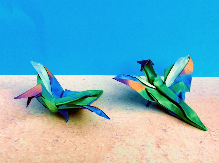 Advanced origami Archaeopteryx dinosaurs