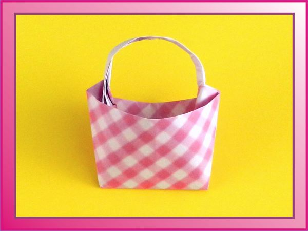 Origami Bag with Pink Plaid Texture