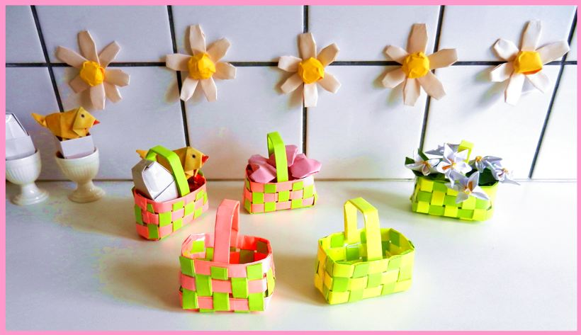 Woven paper gift baskets