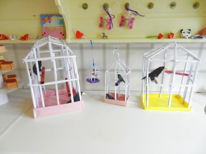 Origami birdcages in a cute Museum