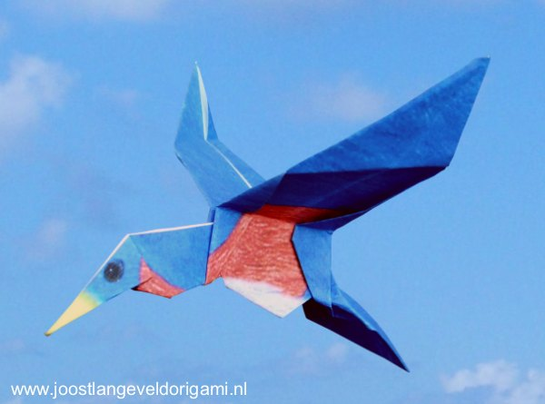 colourful origami bluebird