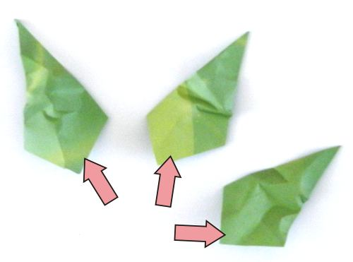 Diagrams for the leaf of a Bonsai Origami Iris flower