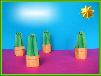 funny origami cactuses in fake paper pots