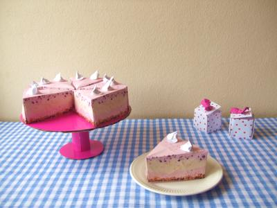 Pink Origami Cake With Whipped Cream