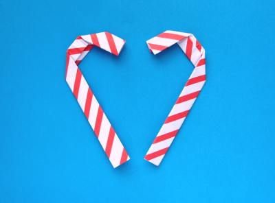 two heart shaped origami candy canes