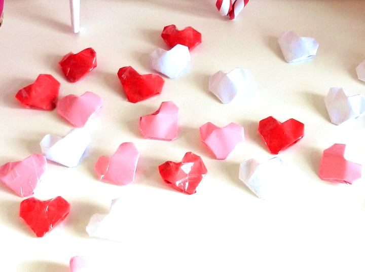 Origami candy hearts