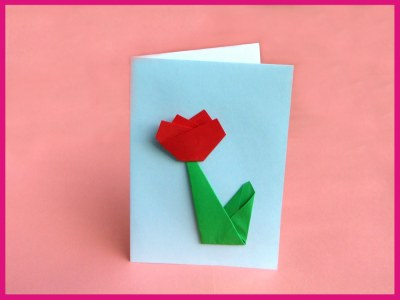 3d origami card with a red tulip
