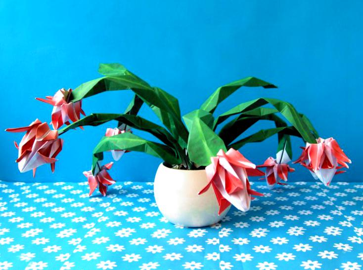 origami christmas cactus in a pot