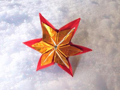 The origami christmas star is