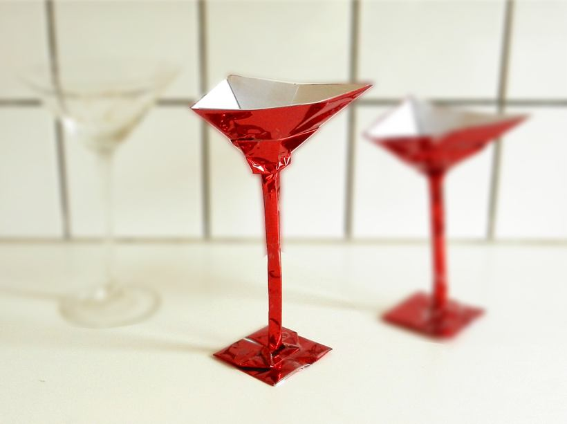 Origami cocktail glass