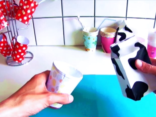 Paper Origami cup and milk carton