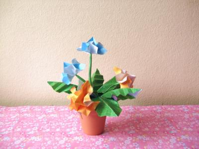 colourful origami fireworks flower