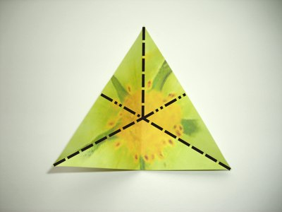 diagrams for a green origami flower