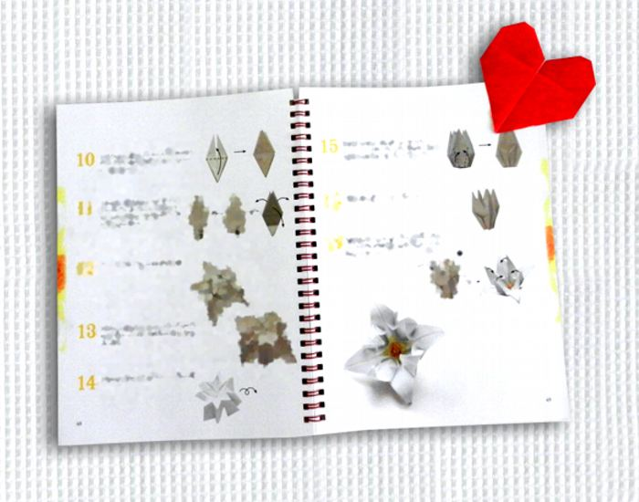 Origami Book With Heart Bookmark