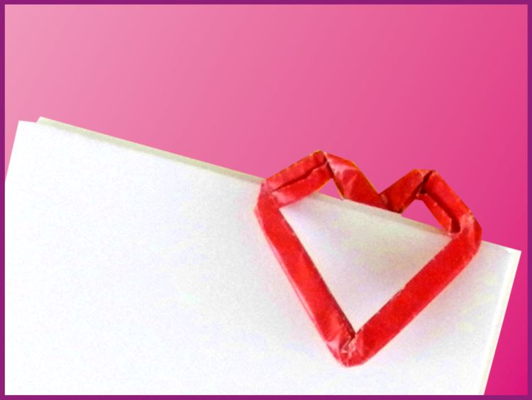 Paper Origami Heart Shaped Paper Clip
