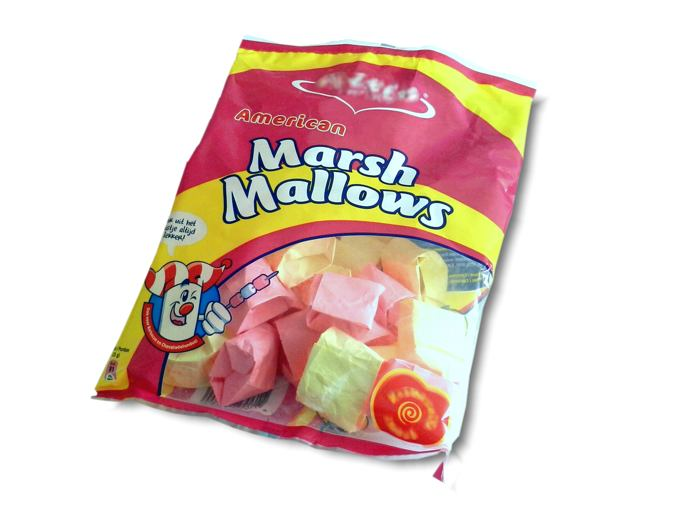 Origami Marshmallows in a real candy bag