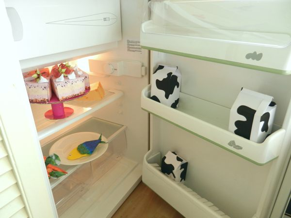 real fridge filled with origami food stuff