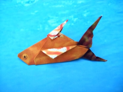 origami fish with a large tail fin