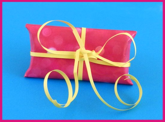 origami gift box with yellow ribbon