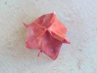 how to fold a pink origami flower