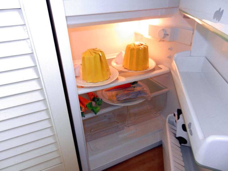 Origami pudding in a fridge
