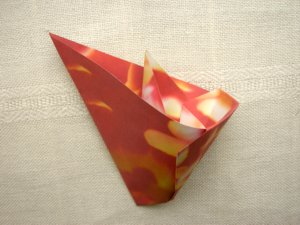 red origami flower