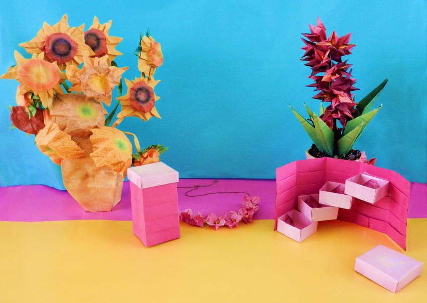 Origami boxes and flowers