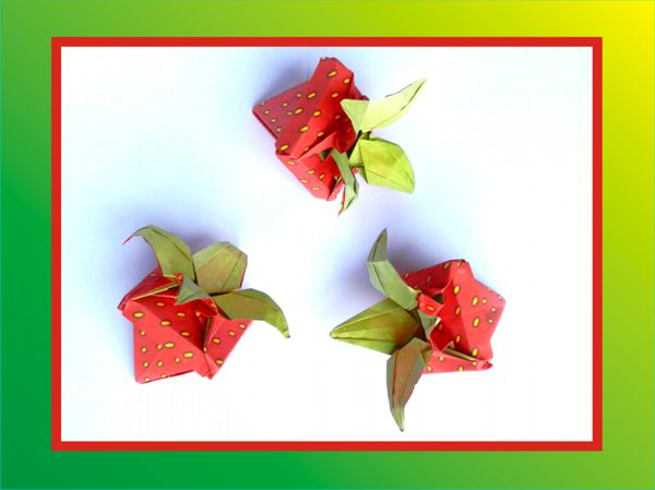 origami strawberry gift boxes
