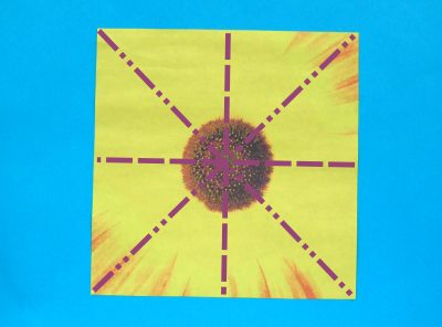 patterned origami paper for a sunflower