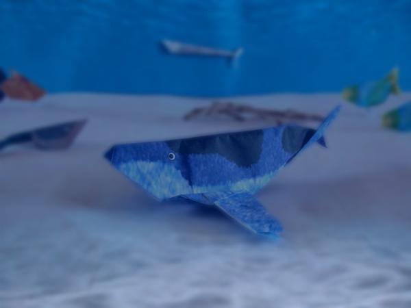 funny origami whale in the ocean