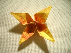 diagram for a yellow origami flower