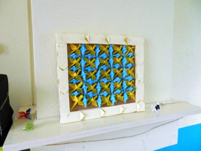 3d origami painting with birds and fishes