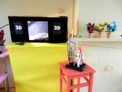 mechanical 3d tv made of technic lego pieces