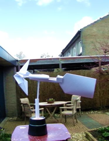 origami wind vane with rotating propellor