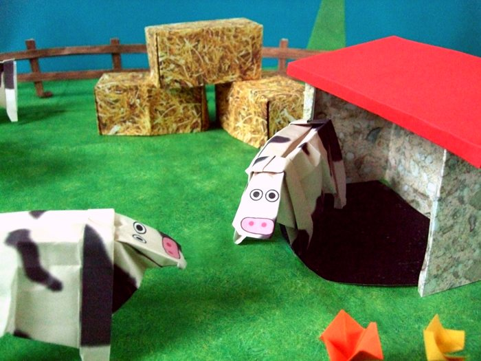 funny origami cows talking to each other