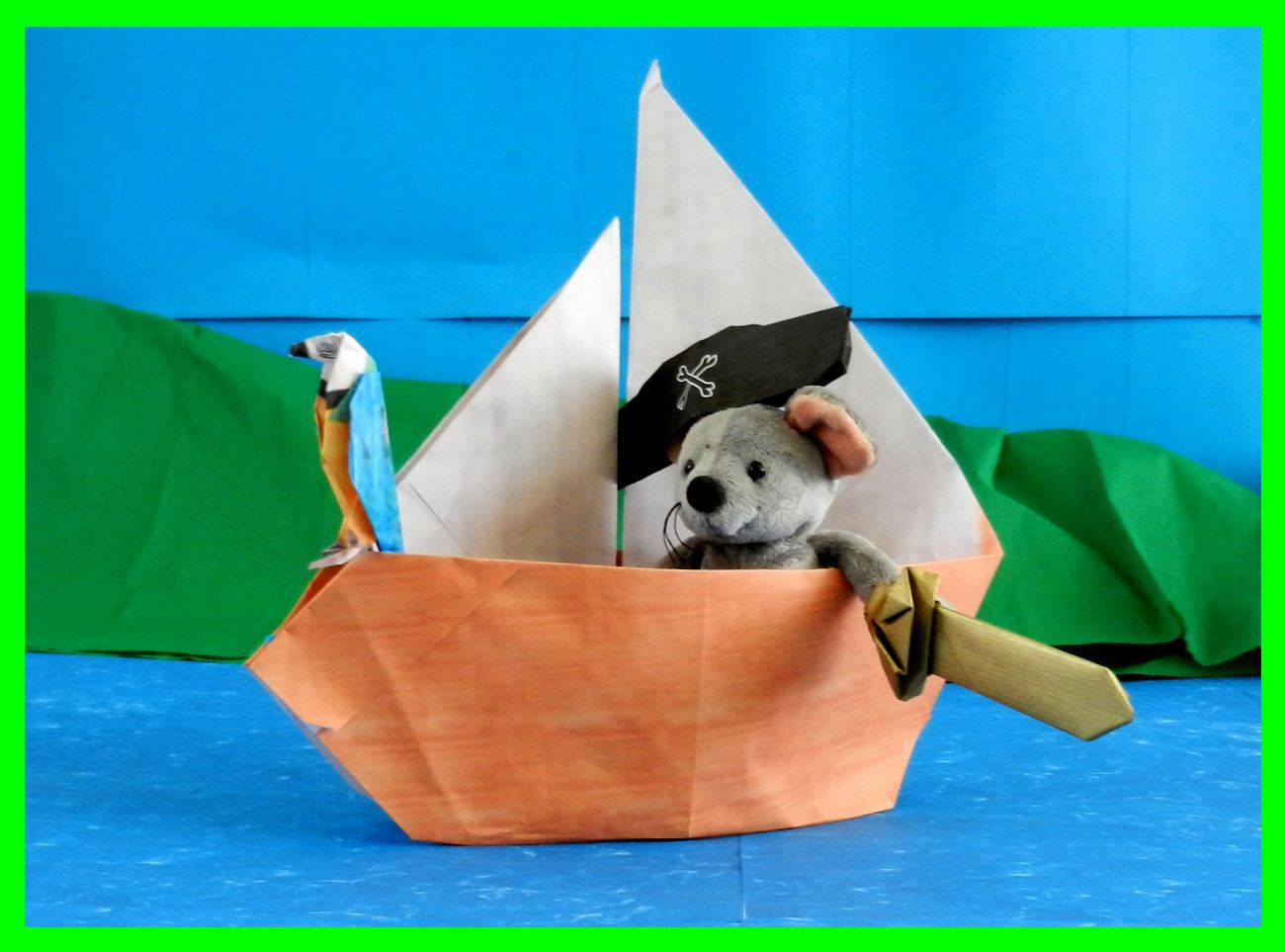 Printable card with an origami pirate ship